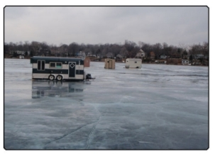 Motor Homes parked on iced over lake